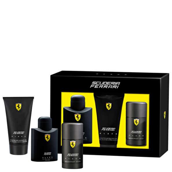 Conjunto Ferrari Scuderia Black Masculino - Eau de Toilette 125ml + Gel de Banho 150ml + Desodorante 75ml