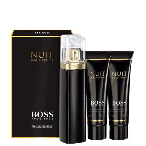 Conjunto Boss Nuit Hugo Boss Feminino - Eau de Parfum 75ml + Loção Corporal 50ml + Gel de Banho 50ml