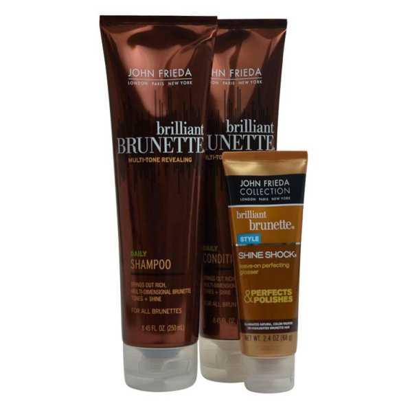 John Frieda Brilliant Brunette Daily Shine Kit (3 Produtos)