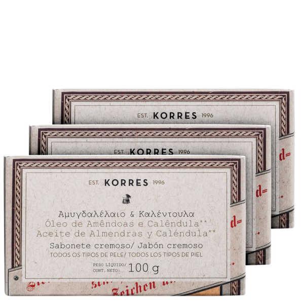 Kit Korres Óleo de Amêndoas e Calêndula - Sabonetes em Barra 3x100g