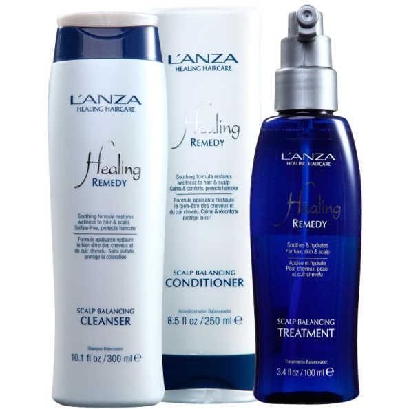 L'Anza Healing Scalp Balancing Cleanser Kit de Tratamento (3 Produtos)
