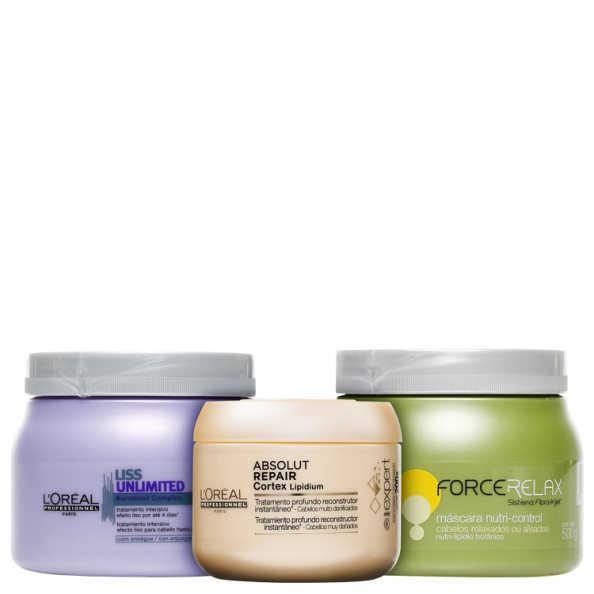 L'Oréal Professionnel Cronograma Capilar Cabelos Sem Frizz Kit (3 Produtos)