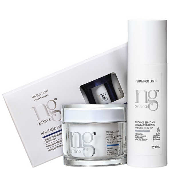 NG de France Light Hidratação Para Cabelos Finos Kit (3 Produtos)