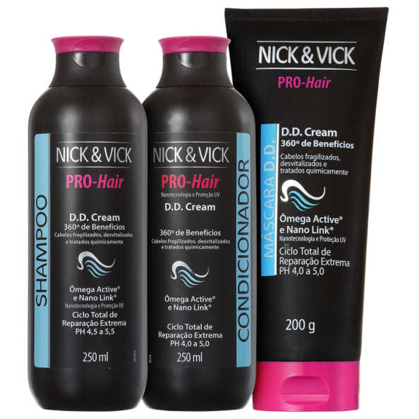 Nick & Vick PRO-Hair D.D. Cream 360º Tratamento Completo Kit (3 Produtos)
