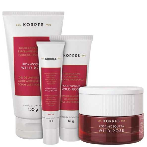 Korres Wild Rose - Full Kit para peles normal a seca (4 Produtos)