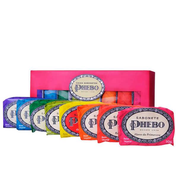 Kit Phebo Tradicional Caixa Rosa - Sabonetes em Barra 8x90g