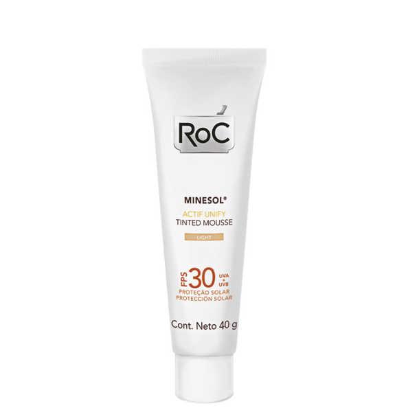 RoC Minesol Actif Unify Tinted Mousse Light FPS 30 - Protetor Solar Facial em Mousse 40g