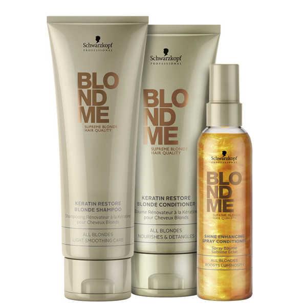 Schwarzkopf Professional Blondme Keratin Shine Kit (3 Produtos)