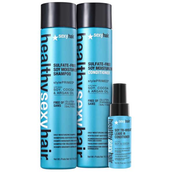 Sexy Hair Healthy Soy Moisturizing Triplo Kit (3 Produtos)