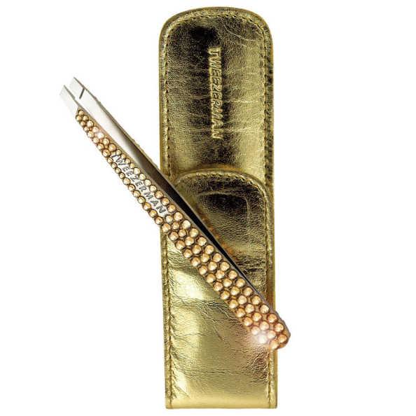 Tweezerman Slant Swarovski - Pinça Dourada