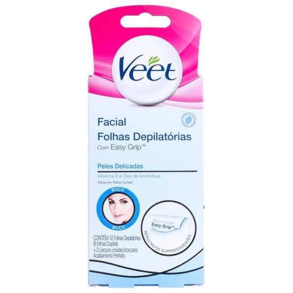 Veet Peles Delicadas - Folhas de Cera Facial (12 unidades)