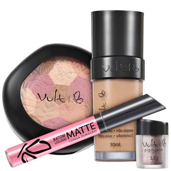 Vult Make Up 02 Rosa Mosaico Pigmento Kit (4 Produtos)