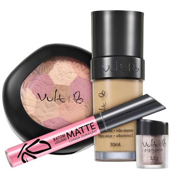 Vult Make Up 03 Bege Mosaico Pigmento Kit (4 Produtos)