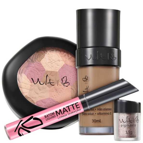 Vult Make Up 06 Marrom Mosaico Pigmento Kit (4 Produtos)