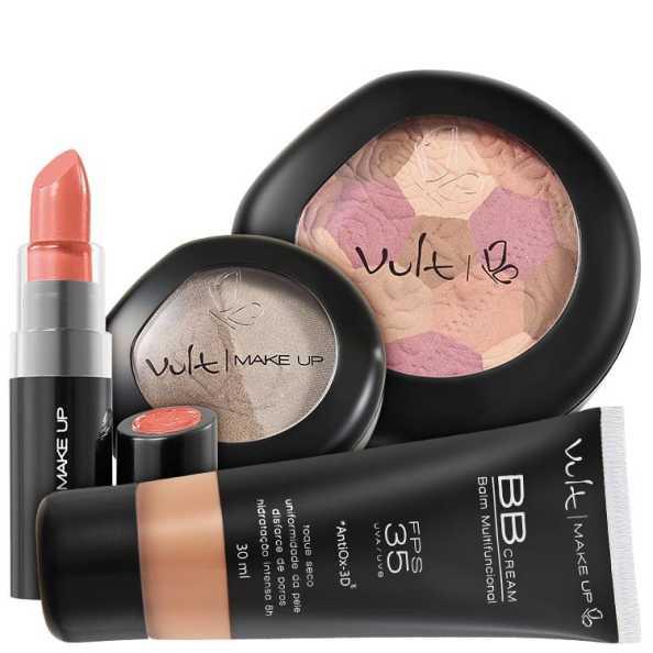 Vult Make Up Multifuncional FPS35 Marrom Moisaco Kit (4 Produtos)